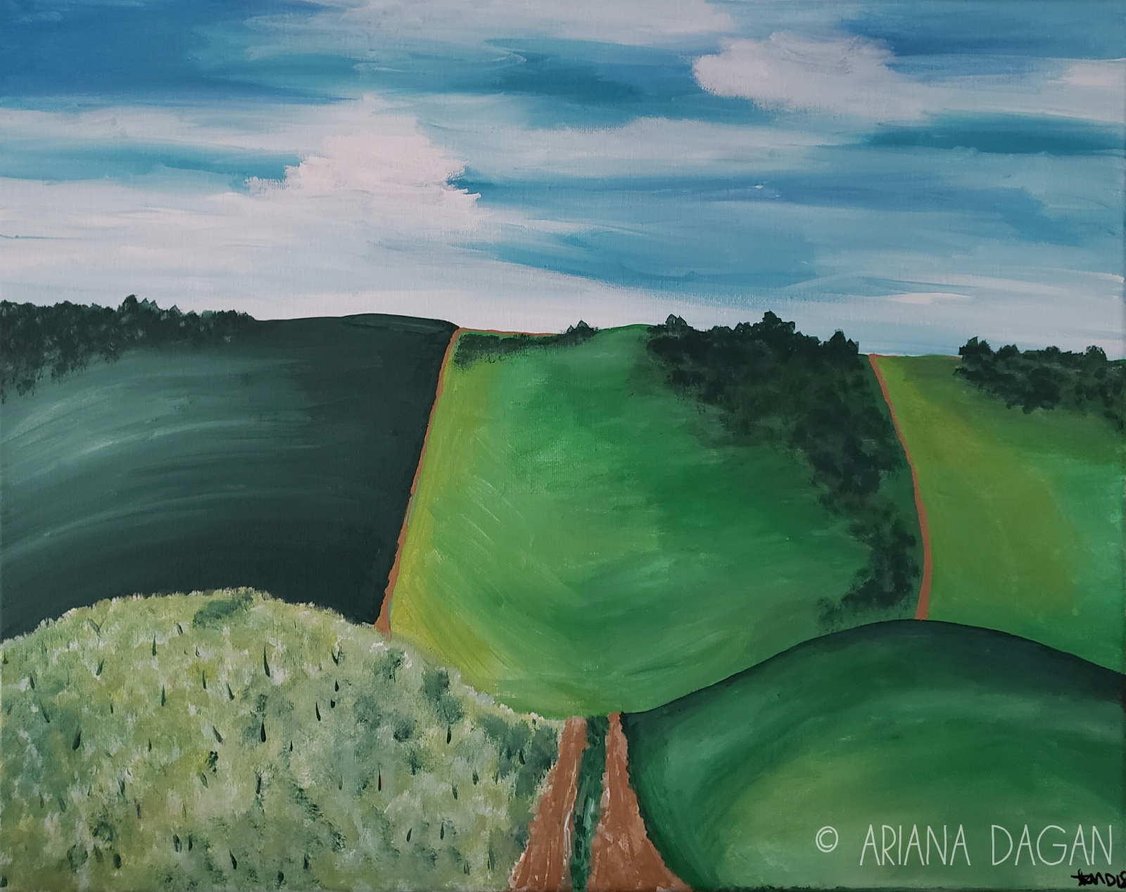 """Journey in Modesto"" © Ariana Dagan 2018 16""x20""x.5"" acrylic on stretched canvas 