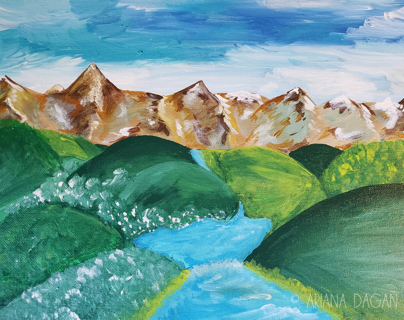 """An Alluring Mountain Stream"" © Ariana Dagan 2018 11""x14"" acrylic on panel 