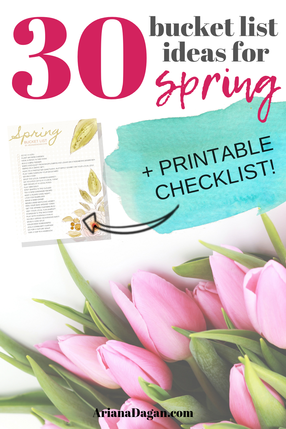 30 Fun Spring Activities for Singles, Couples and Families + FREE Spring Bucket List Printable!