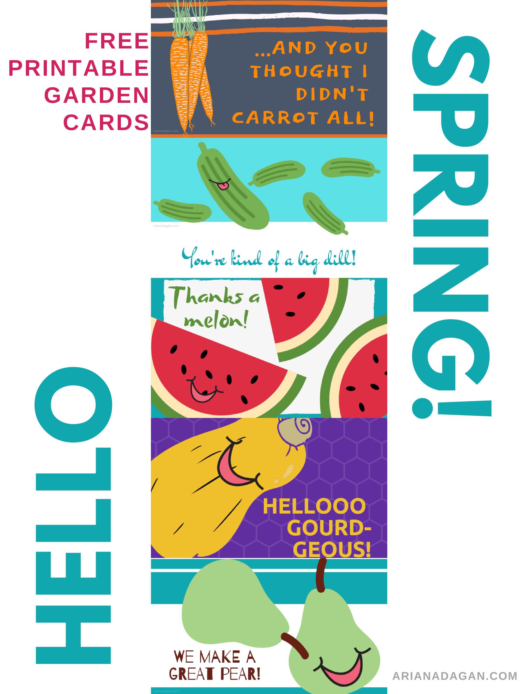 Free Printable Spring Garden Cards by Ariana Dagan